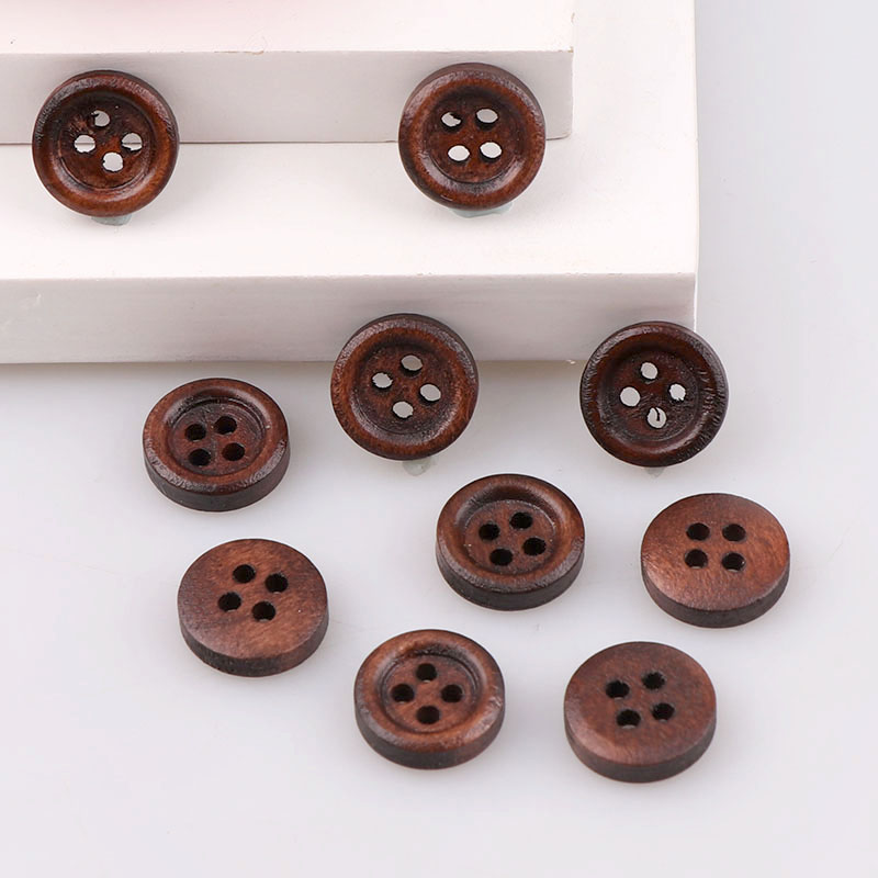 High Quality Small SizeSewing Accessories Natural Wooden <font><b>Buttons</b></font> Sewing Scrapbooking 4 Holes Round Brown <font><b>10mm</b></font> 50PCS For Clothes image