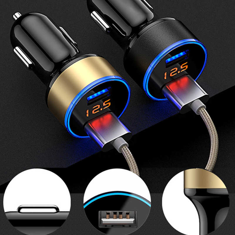 12/24v Car Charger 3.1A Dual USB Port Fast Charging Cars Cigarette Lighter Charger Car Socket Real-time Voltage Auto Accessories