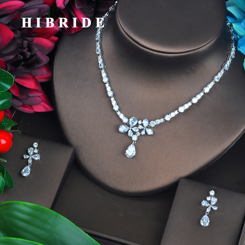 HIBRIDE Beautiful Flower Full Cubic Zirconia Women Bridal Jewelry Sets Necklace Set Wedding Accessories Gifts Jewelry Set N-438HIBRIDE Beautiful Flower Full Cubic Zirconia Women Bridal Jewelry Sets Necklace Set Wedding Accessories Gifts Jewelry Set N-438