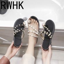 RWHK 2019 summer new sandals female pearl thong slippers Korean casual wild fashion beach shoes B464