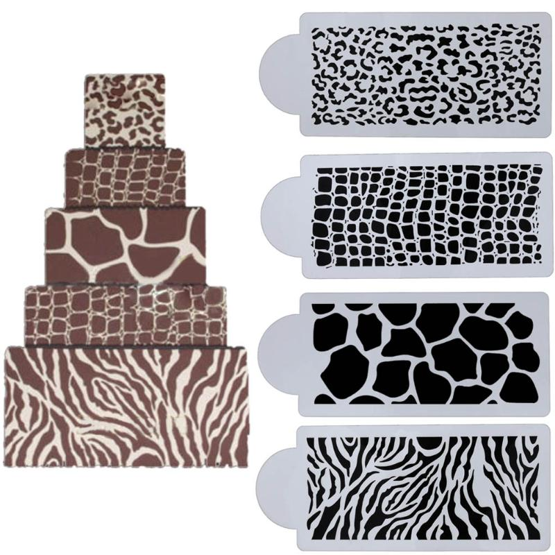 4pcs set Cake Biscuit Stencil Baking Fondant Cake Decorating Tool for Wedding Party Cake Template Mold Kitchen Baking Tools in Cake Molds from Home Garden