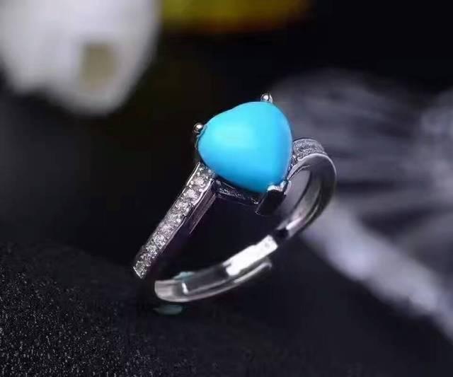Romántica forma de corazón anillo de plata anillo de piedras preciosas 7mm turquesa naturaL sólido 925 anillo de plata de la piedra preciosa regalo de amor para la novia