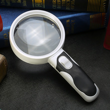 10 Times Lupa Magnifying Glass Loupe Third Hand Magnifier With Backlight LED