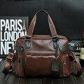 2016 Male Men Travel Bag fashion Leather male Bag Protable duffle  casual Tote bag Trendy Travel Duffel Bag Black