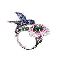 יוקרה hummingbird פרח & ציפור עיצוב אופנה צבעוני טבעת צבע כסף נחושת טבעות תכשיטים לנשים מתנות עם תיבה