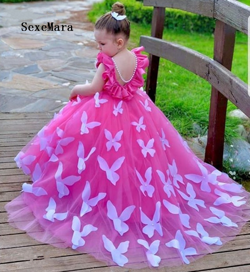 Pink Puffy Tulle Girl Princess Dress Ankle Length Wedding Party Dress Birthday Dress Pageant Kids Gown For Little Princess
