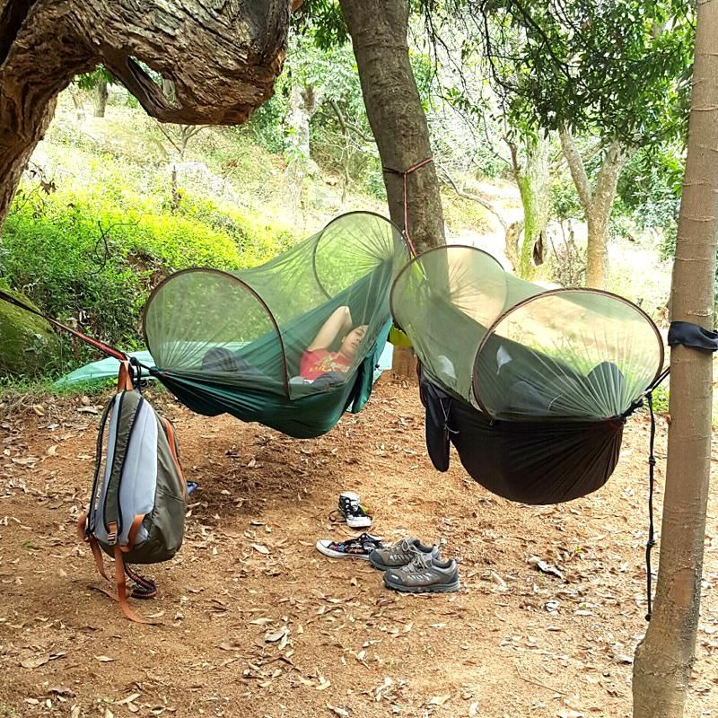 Multiuse Portable Hammock Camping Hiking Travel Hammock with Mosquito Net Stuff Sack unnel Shape Swings Bed