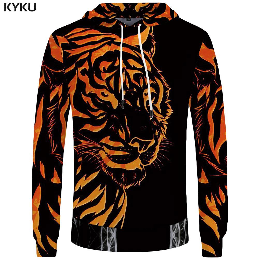 KYKU Tiger Sweatshirts Men clothes 2018 Casual Wear Animal Hoodies Long Sleeve Hoddie 3d Hooded Sweatshirt New