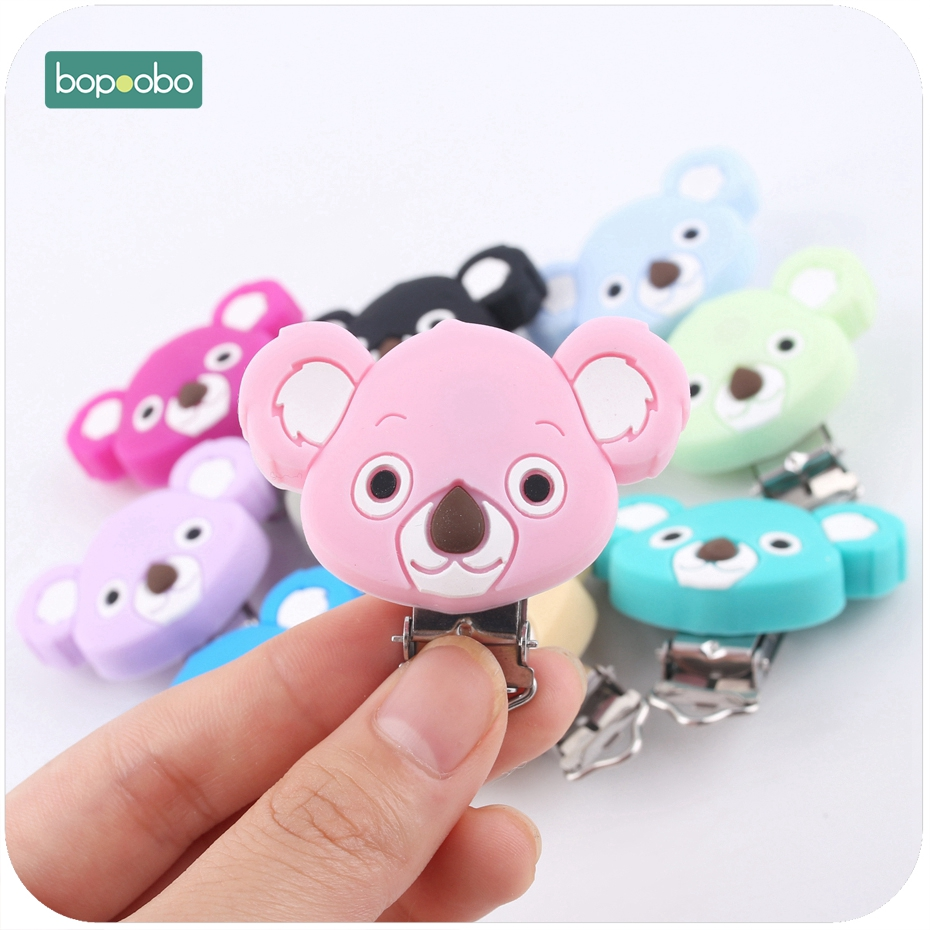 Bopoobo 20PC Silicone Cartoon Animal Koala Pacifier Clip Teething Accessories Pacifier Holder Safe Teether Baby Shower