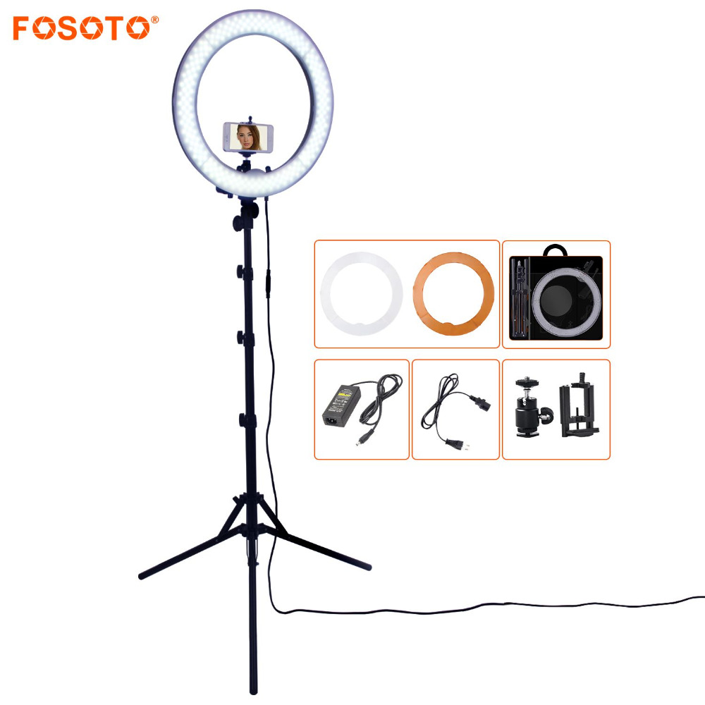 FOSOTO RL-18 55W 5500K 240 LED Photographic Lighting Dimmable Camera Photo/Studio/Phone Photography Ring Light Lamp&Tripod Stand fosoto rl 18 55w 5500k 240 led photographic lighting dimmable camera photo studio phone photography ring light lamp