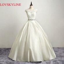2017 Nuevo Modelo de Cristal Correa de Encaje Sin Espalda Apliques arco Vestidos de Novia de IMAGEN Real