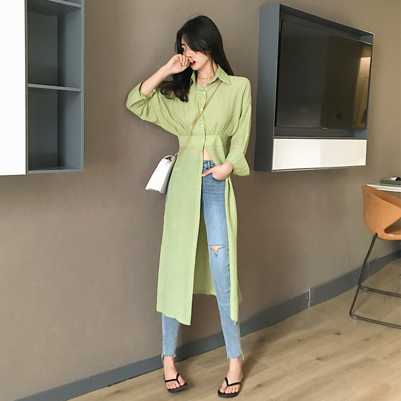 Long Shirt For Women Batwing Sleeve Tunic High Waist Split Summer Thin Blouse Tops 2019 Fashion Sunproof Korean Clothing in Blouses amp Shirts from Women 39 s Clothing