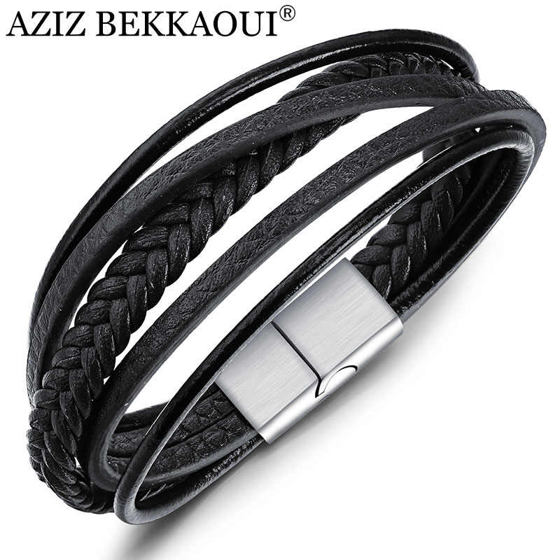 AZIZ BEKKAOUI Black/Brown Genuine Leather Bracelet for Men Stainless Steel Bracelets Diy Cowhide Bangle Men Jewelry Gift