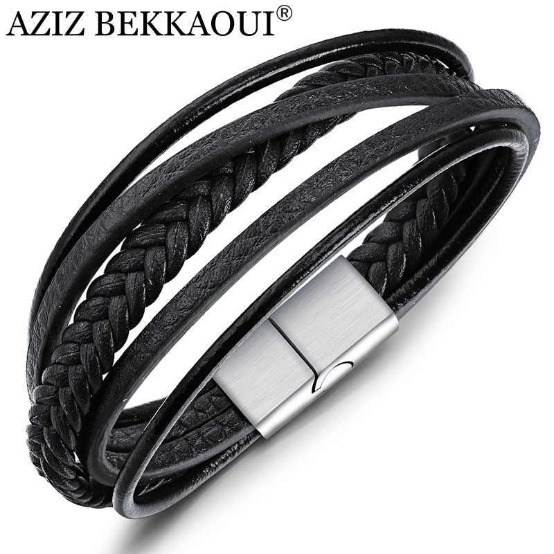 AZIZ BEKKAOUI czarny/brązowa prawdziwa skóra bransoletka dla mężczyzn bransoletki ze stali nierdzewnej Diy skóra bydlęca bransoletka mężczyzn biżuteria prezent