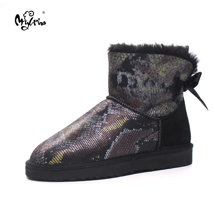 Top Quality 2017 New Arrival 100% Genuine Sheepskin Leather Snow Boots Natural Fur Mujer Botas Winter Warm Shoes For Women