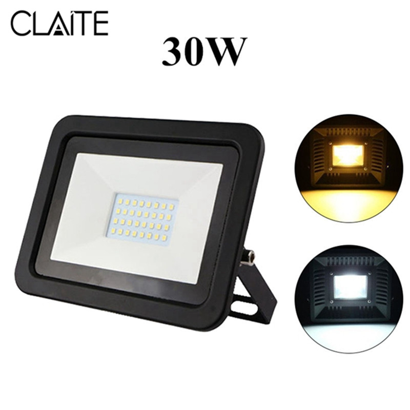 CLAITE Outdoor LED Floodlight 30W Waterproof IP65 Spotlight Outdoor Lighting Projector Reflector Wall Lamp AC220-240V
