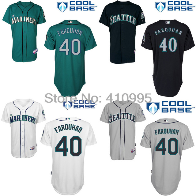 detailed look 43124 31a10 Seattle Mariners 40 Danny Farquhar Custom Baseball Alternate Home Road BP  Jersey Free Shipping Personalize Cheap