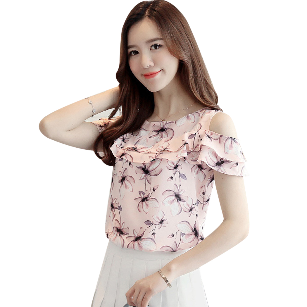 Women Off Shoulder Chiffon Blouse Elegant Ruffles Floral Printed Short Sleeve Blouses Tops Summer Fashion Ladies Shirts Blusas