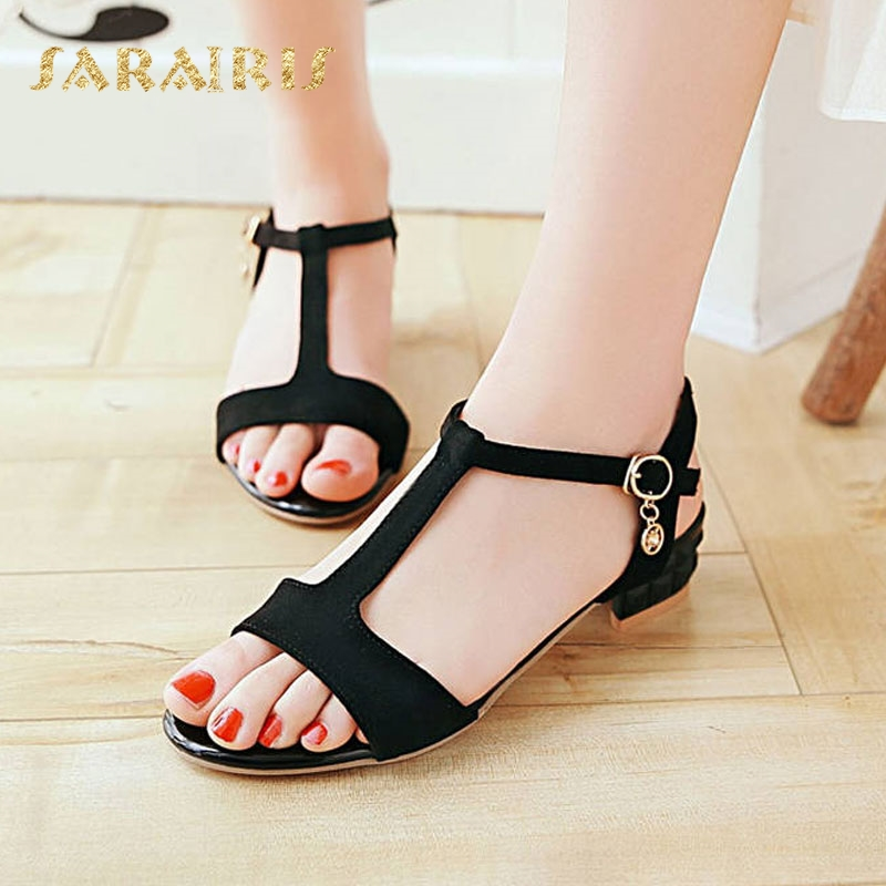 SaraIris Fashion t-strap Chunky Heel Buckle Up Casual Summer Shoes Woman  Sandals Large Size 2d713aaae148