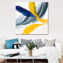 RELIABLI ART Pictures Wall Art Paintings Colorful Feather Abstract painting Canvas Print For Living room Unframed