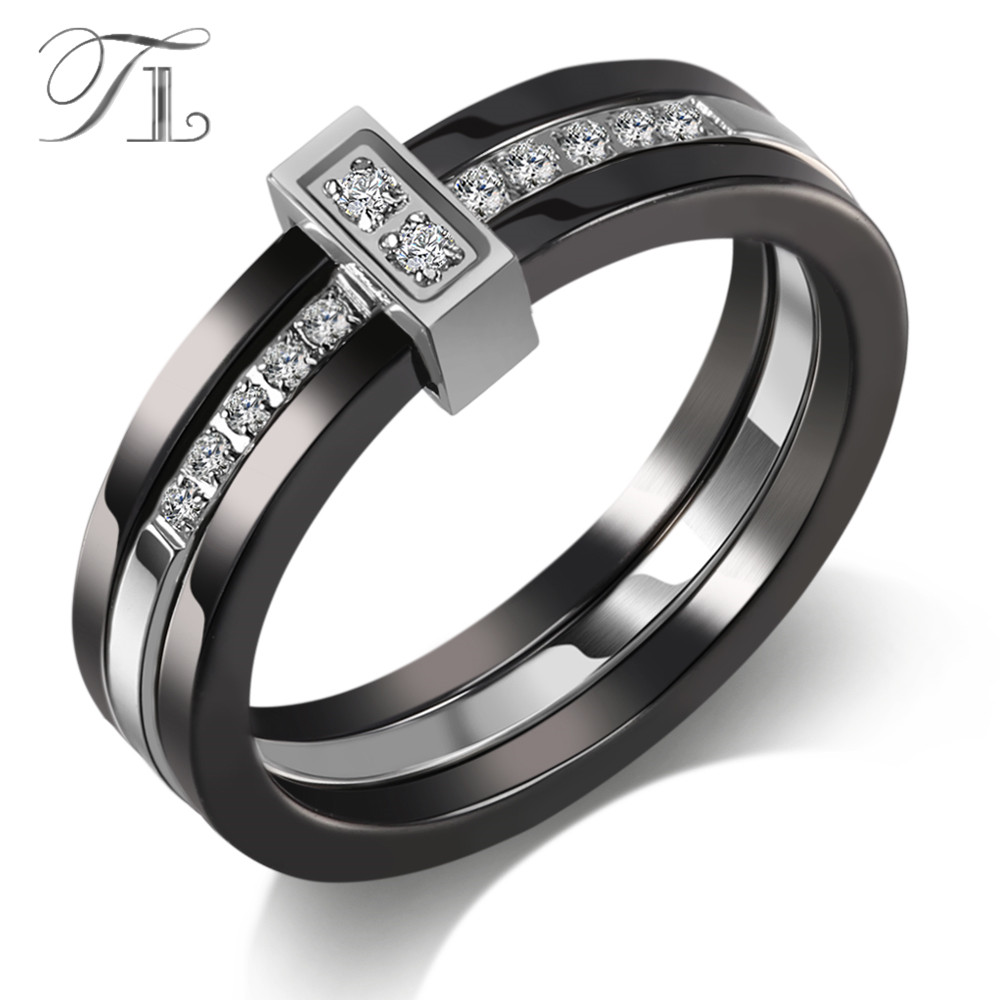 цена на TL Unique Ceramic Rings Black & White Ceramic Layer Mezzanine Cubic Zircon Stainless Steel Rings European Fashion Party Jewelry