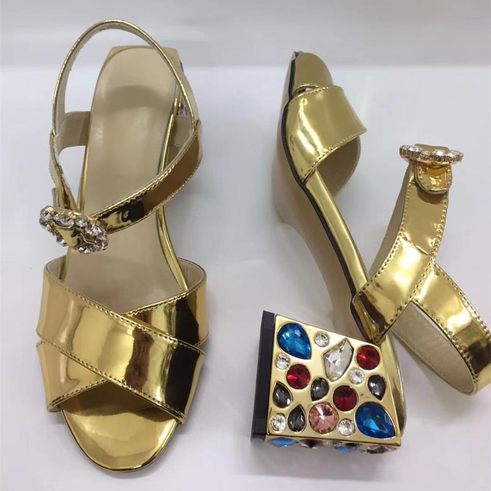 2019 summer Fashion rhinestone thick heeled sandals Chic women's diamonds real leather sandals shoes EU35-41 size BY689