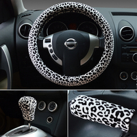 Car Steering Wheel Hubs Classic Leopard Print Steering Wheel Cover Female Winter Plush Position Cover Brake Cover 3 pcs 38cm