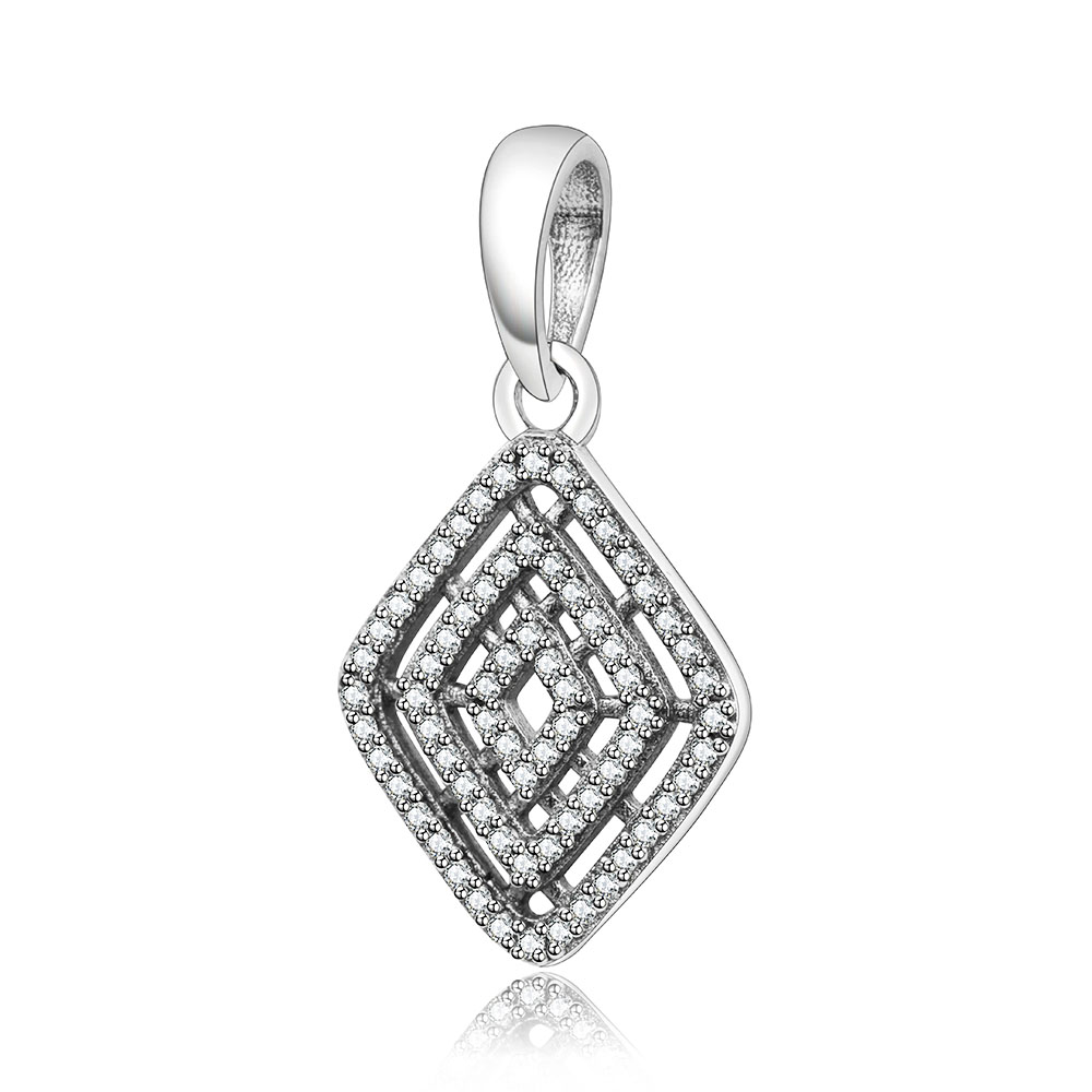 100% 925 Sterling Silver Charm Dangle Clear Cubic Zirconia Bead Fit Original Pandora Charm Bracelet Pendant DIY Jewelry Berloque
