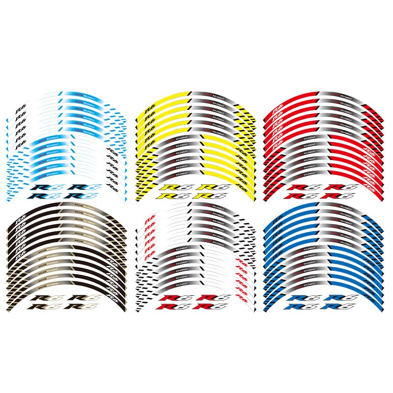 12 X Thick Edge Outer Rim <font><b>Sticker</b></font> Stripe <font><b>Wheel</b></font> Decals FIT <font><b>YAMAHA</b></font> YZF <font><b>R6</b></font> YZF1000 YZF-<font><b>R6</b></font> image