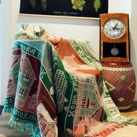 Pure cotton Retro carpet thin blanket Ethnic Art sofa towel blanket bed cover living room bedroom Felts tapestry 125X150 CM