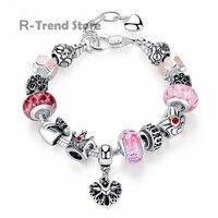 Pink Charm Bracelet For Women Heart Beads Bracelets Bangles For Female Diy Jewelry PA1874