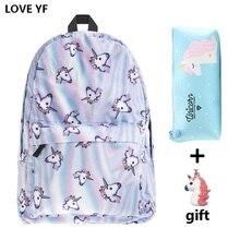 8dad32be910 Populaire eenhoorn patroon schooltas rugzak tas voor school meisjes Campus  meisje nylon rugzak mochilas feminina de