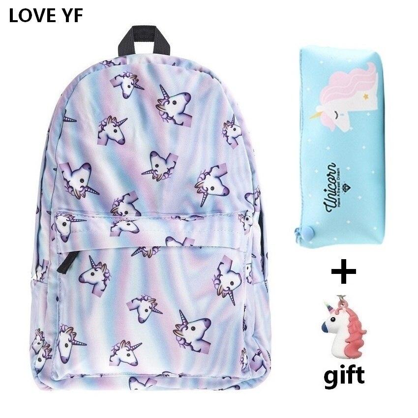 Unicórnio combo escola Menina moda bolsas mochilas campus mochila clássico mochila do estudante Fêmea mochila feminina frete gratis