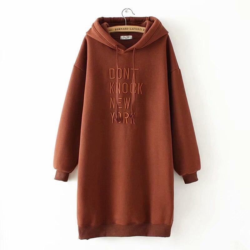Femmes lâche décontracté sweats à capuche lettres à manches longues sweat à capuche en velours robe automne hiver grande taille pull à capuche YY612