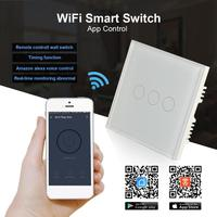 QIACHIP UK Plug AC 220V 110V 3 Buttons WiFi Smart Switch 3CH Wireless Remote Control Light