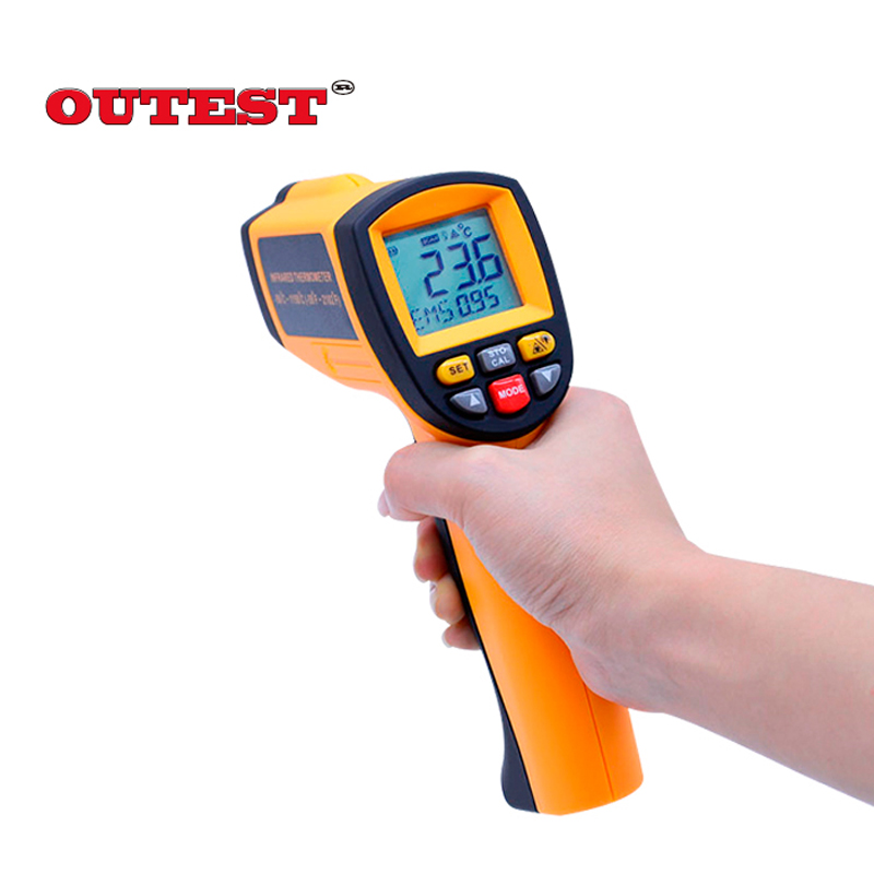 BENETECH Laser LCD Display GM1150 Digital IR Infrared Thermometer Temperature Meter Gun Point -50~1150 Degree With Carry Box benetech gm270 1 4 lcd infrared temperature tester thermometer yellow 2 x aaa