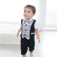 New Spring Cute Kids Baby Boys Cotton Gentleman Romper Jumpsuit Jumpsuit Clothes Outfit 1101