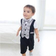 New Spring Cute Kids Baby Boys Cotton Gentleman Romper Jumpsuit Jumpsuit Clothes Outfit 1101