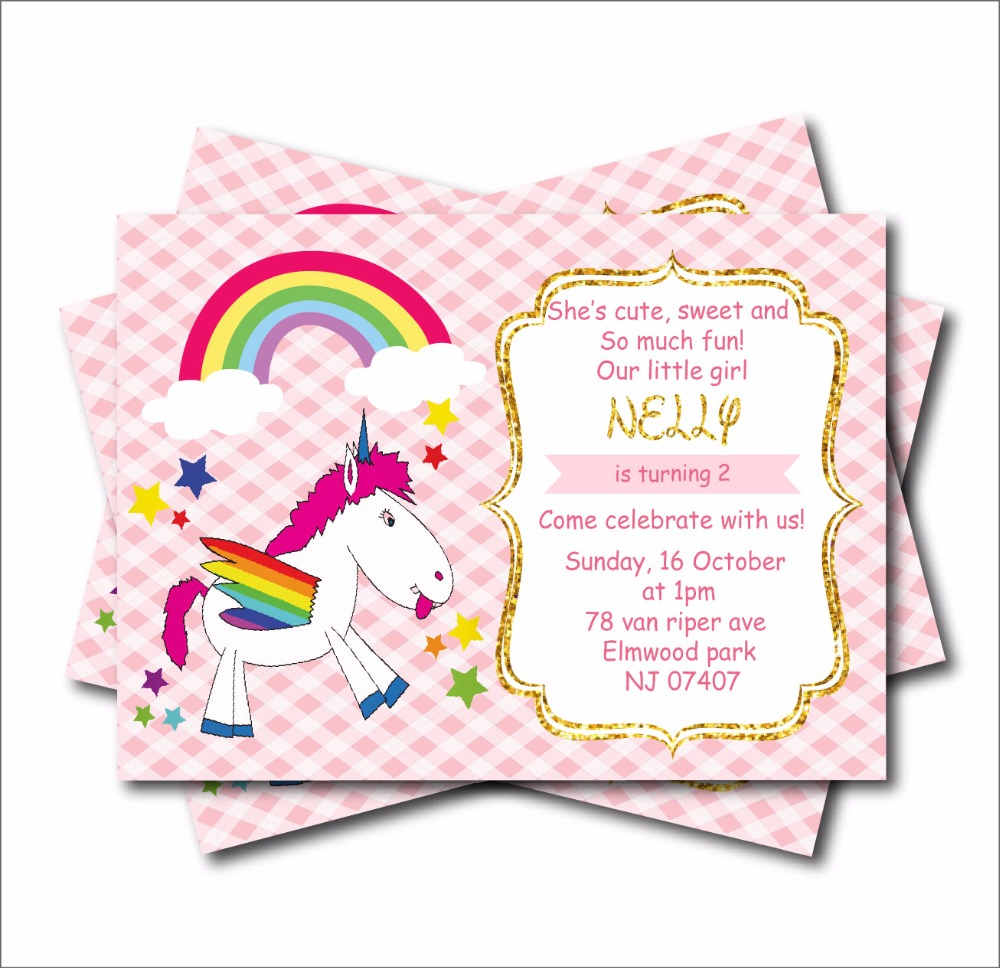 20 Pcs Lot Custom Unicorn Birthday Invitations Girls Baby Shower