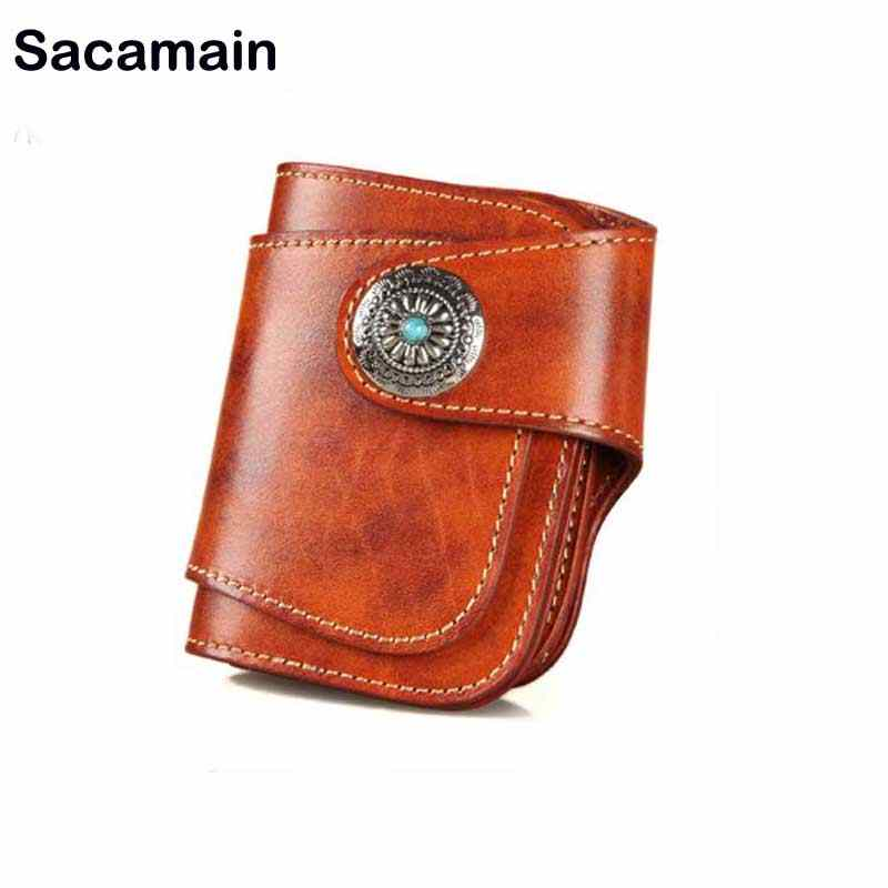 eddb2405e5e5 Sac a Main Leather Men s Wallet Anti Theft Muzee Life Card Men Luxury Genuine  Leather Purse