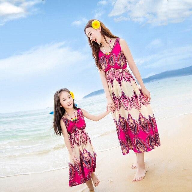 Семья соответствующий наряд мать и дочь долго богемной платье семья одежда и дочь одежда пляжная одежда GS06