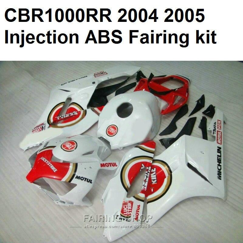 For Honda cbr 1000rr 2004 2005 ( White red / lucky ) fairings cbr 1000 rr 04 05 Low price Fairing kit  C132