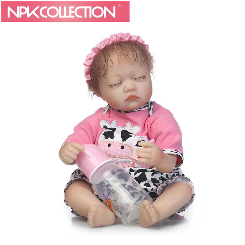 Menina Lovely Close Eyes Reborn Baby Doll Real Like 17 Inch Sleeping New Born Baby For Kids New Arrival Model Dolls Toy