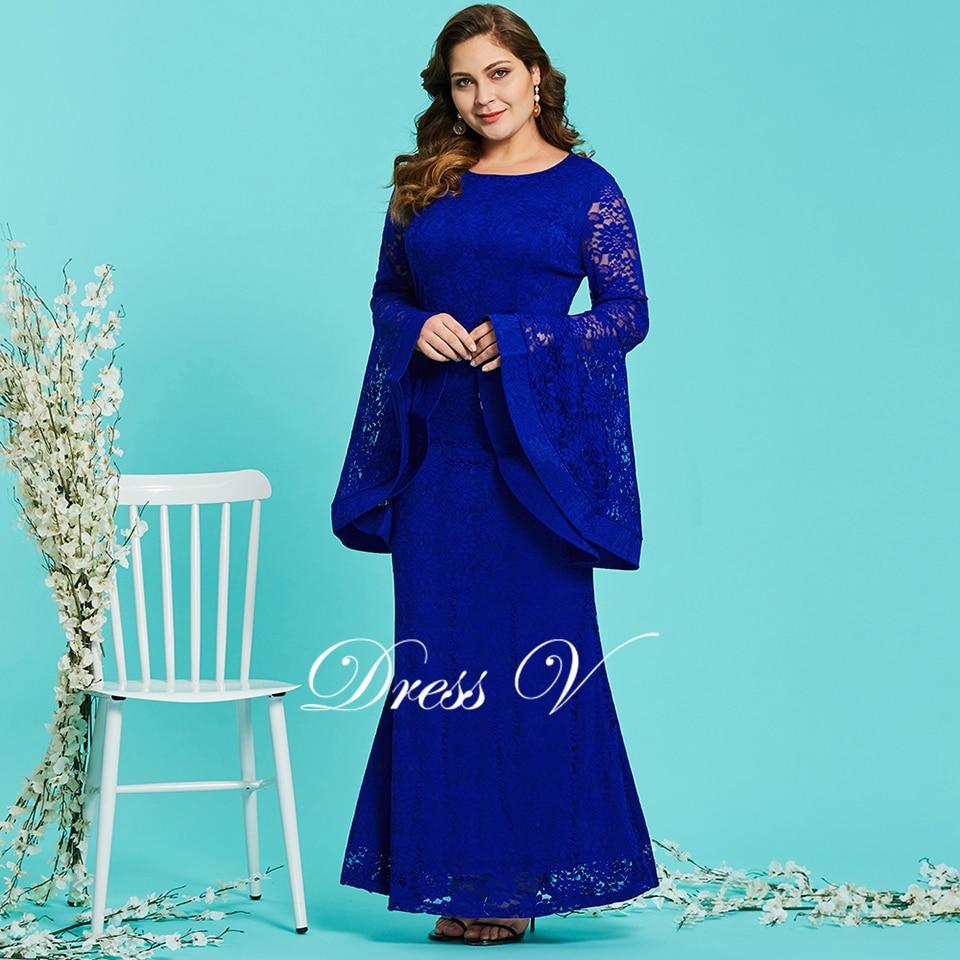 Dressv royal blue round neck plus size evening dress elegant mermaid long  sleeves lace wedding party 5fc83e616991