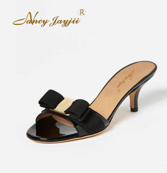 eb0203677bf78 Summer Clogs Black Nude Slides Slipper Mules Ladies Shoes Woman Cute Bow Low  Heels Famous Brand