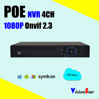 POE NVR 4ch H 264 Network 1080P Onvif Surveillance Video Recorder PTZ Control Motion Sensor Mobile