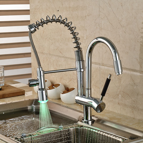 Contemporary LED Light Single Handle Pull Out Spout Chrome Finished One Hole Kitchen Faucet