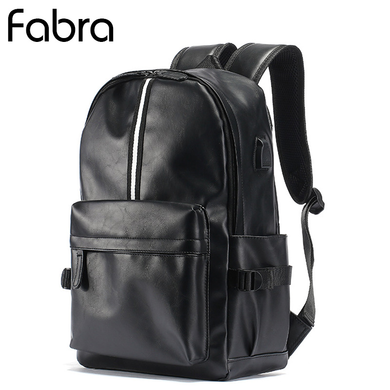 Fabra PU Leather Man Backpack Big Capacity Travel Computer Bag Backpack Student Book Bag 14 Inch Laptop Shoulder Bag Daypacks