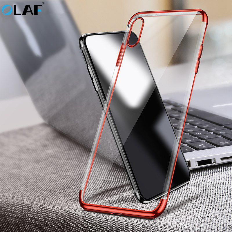 OLAF Luxury Silicone Soft TPU Transparent Case For iPhone X 8 7 6 6S Plus Ultra Slim Cover Cases For iPhone 8 7 6 Case Capa Bags