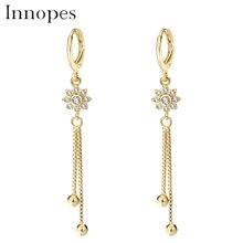 Innopes Korea womens long earrings pearl flowers elegant Crystal Drop Earrings
